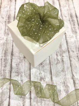 Chiffonband moosgrün mit weißen Sternen - 5 Meter