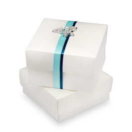 Geschenkschachtel weiß mit Deckel 100x100x60mm, 5 Stück