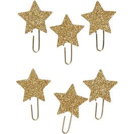 Papier-Klammern aus Metall gold mit Glitter Stern