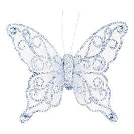 Organza Schmetterling mit Clip in silber/weiß