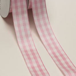 Baby Gingham Band rosa/weiß, 2 Meter