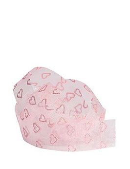Chiffonband rosa mit Glitzer-Herzen, 25mm, 5 Meter