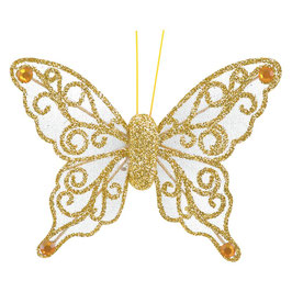 Organza Schmetterling mit Clip in gold