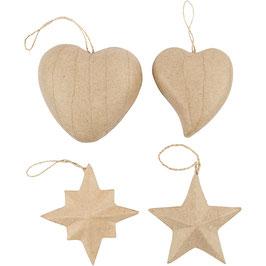 Pappmache Anhänger Herz und Stern
