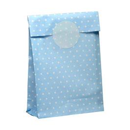 10 Papiertüten mit passendem Sticker blau