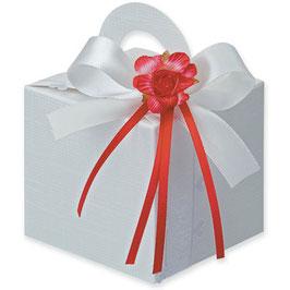 Geschenkschachtel weiß Quadrat mit Henkel