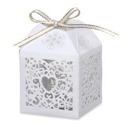 Gastgeschenk-Schachtel Lasercut weiß 10 Stück