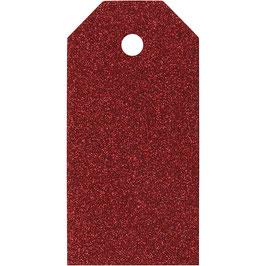Geschenkanhänger Glitter rot - 15 St.