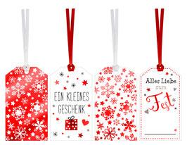 """Geschenkanhänger-Set """"Red Christmas"""""""
