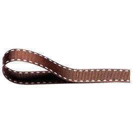 Ripsband braun mit weißer Ziernaht - 10 Meter
