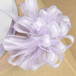 Organza Ziehschleifenband flieder-silber