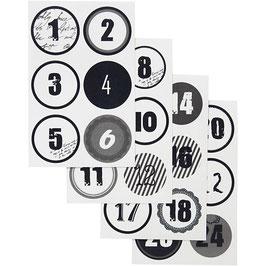 Adventskalender Zahlen Sticker schwarz-weiß