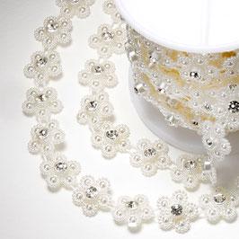 Perlenblume mit Straßstein am Band