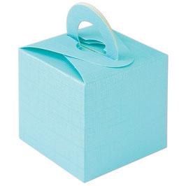 Geschenkschachtel aqua Quadrat mit Henkel