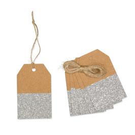 Geschenkanhänger-Set Glitter Kraftpapier 6 St.