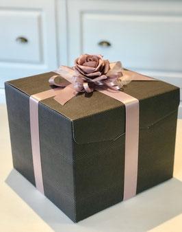 Geschenkbox Würfel braun Palermo SKIN- 30x30x24 cm