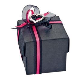 Geschenkschachtel schwarz Quadrat mit Deckel, 10 Stück