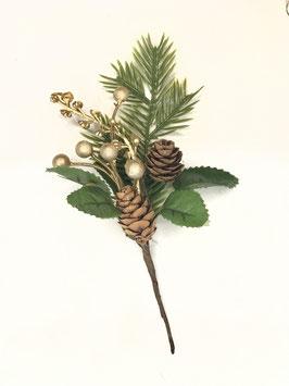 Weihnachtlicher Deko Zweig mit goldenen Kugeln