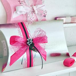 Pillow Box  silber, 5 Stück - 17x13x4 cm