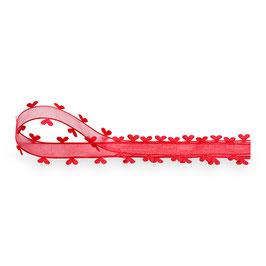 Organza Band rot mit Herz-Rand -5 Meter