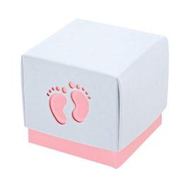 Geschenkschachtel Babyfüße rosa, 5 Stück