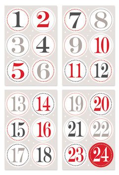 Aufkleber Adventskalender-Zahlen klein