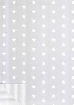 Geschenkpapier Stars & Stripes grau - 2 Bogen