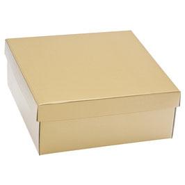 Große Geschenkbox gold mit Deckel - 30x30x12 cm