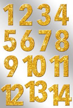 Aufkleber Adventskalender-Zahlen Glitter gold