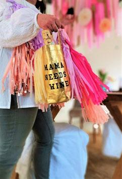 "Wine Bag ""MAMA NEEDS WINE"" gold"