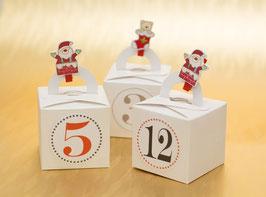 24 Adventskalender Schachteln weiß mit Henkel