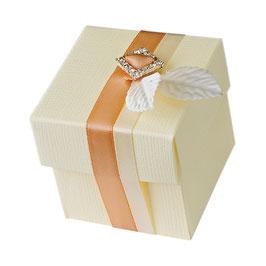 Geschenkschachtel Quadrat mit Deckel creme klein, 10 Stück