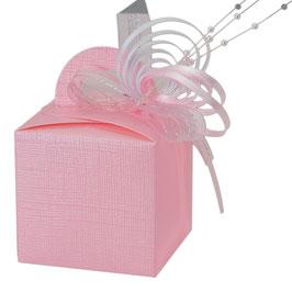 Geschenkschachtel rosa Quadrat mit Henkel, 10 Stück