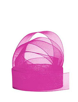 Chiffonband pink mit Webkante, 25mm, 5 Meter