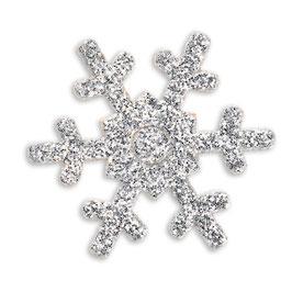 "12 Glitter Schneeflocken ""silber"""