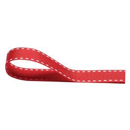 Ripsband rot mit weißer Ziernaht - 10 Meter