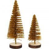 Kleine Deko-Weihnachtsbäume gold, 5 St.