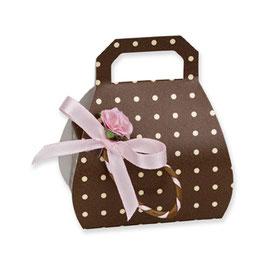 Handtaschen Schachtel Dots braun, 10 St. - 6,5x4x8 cm