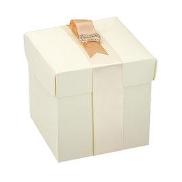 Geschenkschachtel Quadrat mit Deckel creme 12x12x12 cm, 5 Stück