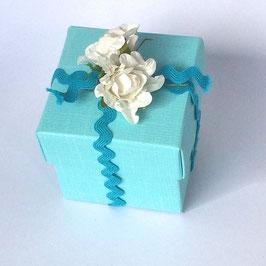 Geschenkbox aqua mit Deckel, 10 St.- 5x5x5 cm