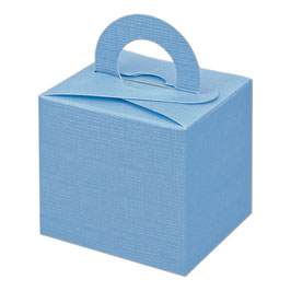 Geschenkschachtel blau Quadrat mit Henkel, 10 Stück