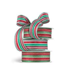 Geschenkband multicolor rot-grün - 5 Meter