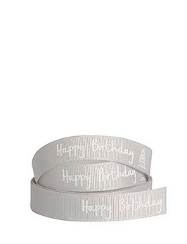 "Ripsband ""Happy Birthday"" grau, 5 Meter"