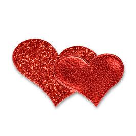 Glitzer Sticker Herzen rot, 12 St.
