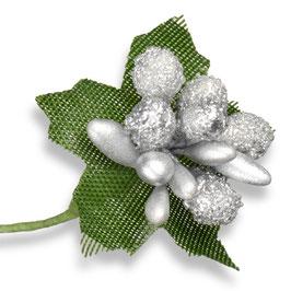 Silberne Glitzer Beeren - 12 Stück
