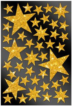 40 Glitzersticker Sterne gold