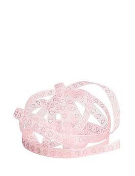 Chiffonband rosa mit rosa Glitzer Herzen 7mm - 5 Meter