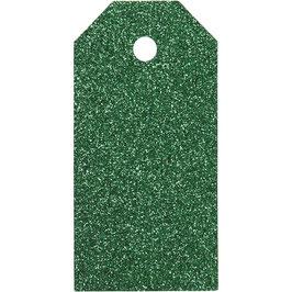 Geschenkanhänger Glitter grün - 15 St.