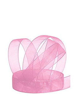 Chiffonband rosa mit Webkante, 15mm, 5 Meter