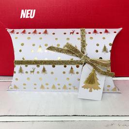 Geschenkverpackungs-Set Weihnachten weiß-gold
